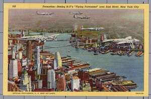 B-17s Flying over East River. ca. 1941, New York, New York, USA, 165 Formation-Boeing