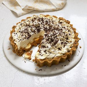 Banoffee pie, sliced, close-up
