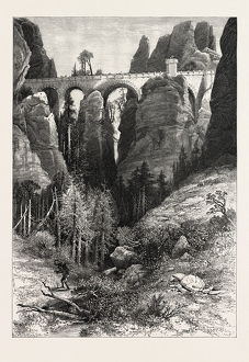 THE BASTEI BRIDGE, Saxon Switzerland, Sachsische Schweiz, bastei, Germany, 19th