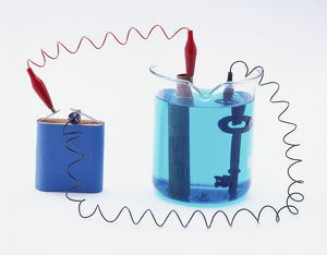 Battery connected to a copper pipe and a key in copper sulphate solution, copper plating.