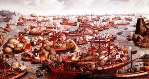Battle of Lepanto, October 1571. Fleets of Spain, Venice and the Pope, under command