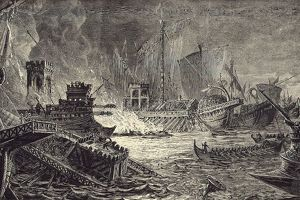 The Battle of Salamis fought between an Alliance of Greek city-states and the Achaemenid