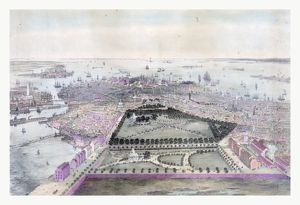Bird's Eye View Of Boston Drawn From Nature And On Stone By J. Bachmann