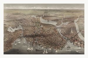 Birds Eye View Of The City Of Boston By Currier & Ives Circa 1873