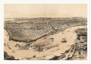 Birds' Eye View Of New Orleans Drawn From Nature On Stone By J. Bachman Circa 1851