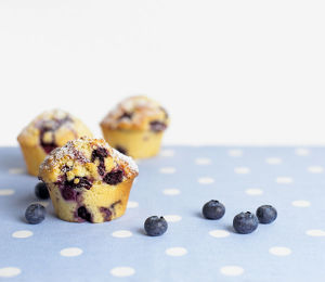 Blueberry muffins and fresh blueberries on polka dot tablecloth, close-up