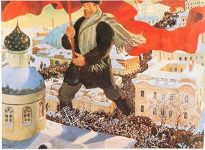 Bolshevist, After painting by Boris Kustodiev, Russia
