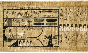 history/book dead papyrus showing written hieroglyphs