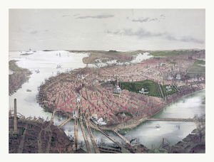 Boston bird's eye view from the north by J. Bachmann, circa 1877, US, USA, America