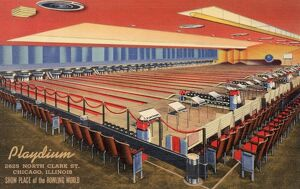 Bowling Lanes. ca. 1940, Chicago, Illinois, USA, THE PLAYDIUM with its 30 bowling