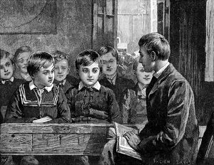 Boy's class at an American Sunday School.
