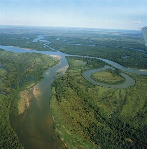 Brazil. Aerial view of upper course of Rio Xingu
