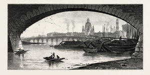 Under the Bridge, Dresden, Germany, 19th century engraving