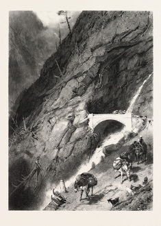 Bridge of Gondo, Switzerland, 19th century engraving