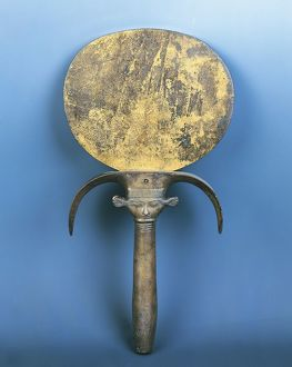 Bronze mirror with Hathor-headed handle, from Gurna