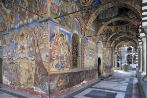 Bulgaria, Rila Mountains, Rila Monastery, frescoed narthex in Church of Nativity of Virgin