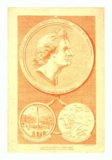 Bust-length double profile of the Montgolfier brothers, French balloonists; after