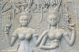 Cambodia, Angkor, detail of Angkor Vat, bas relief of two women