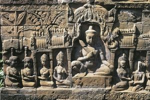 Cambodia, Angkor, Ankor Vat, Bas-relief at Leper King Terrace