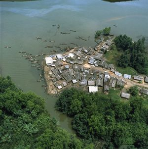 Cameroon, Littoral Region, Aerial view of village near Douala