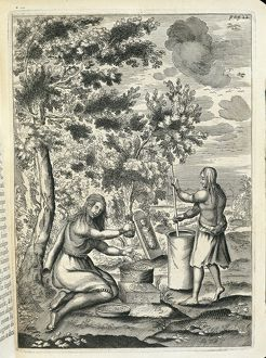 Canada, history of exploration, two Iroquois women preparing meal, from Historiae