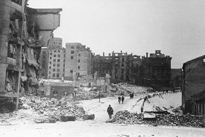 Central warsaw, poland in ruins at the end of world war ll in february, 1945.