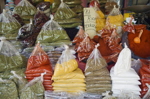 Chile, Biobio region, Chillan city, spices in plastic bags for sale at market