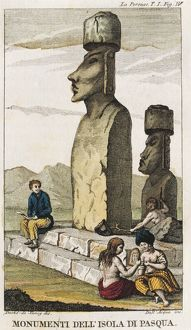 Chile, Monuments on Easter Island, engraving by Dell'Acqua from the Voyage of