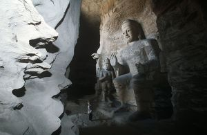 China, Shanxi province, sandstone statue of Buddha in Yungang Grottoes