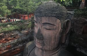 China, Sichuan, Leshan, head of Leshan Giant Buddha statue at Mount Emei Scenic Area