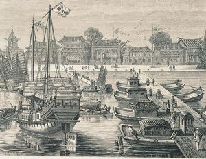 China, Tien-Sien port, sampans, commercial ships and bridge of boats, engraving