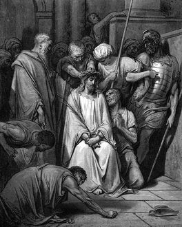 Christ mocked and the Crown of Thorns placed on his head. St John. From Gustave Dore's