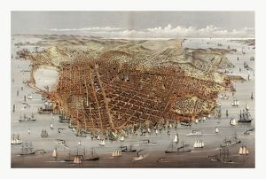 The City Of San Francisco. Birds Eye View From The Bay Looking South-west By Currier