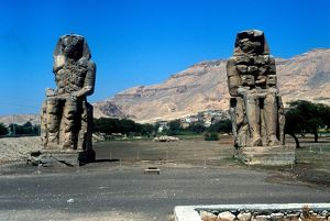 The Colossi of Memnon, near the Valley of the Kings, Egypt, two 70ft/21m stone statues
