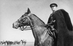 Commander of a cossack unit watching the progress of his troops on the south-western front
