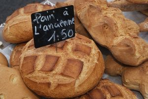 Corsica, Ajaccio, Pain a l'ancienne and other breads for sale at market