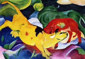 Cows, red, green, yellow: 1912 by Franz Marc (February 8, 1880 - March 4, 1916) was