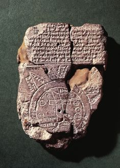 Cuneiform map of the world with Babylon in the center, text describes the conquests