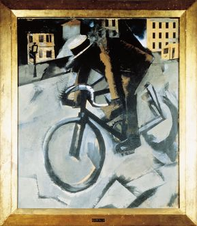 The Cyclist, tempera and collage on cardboard