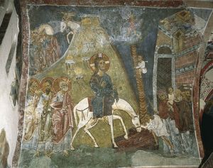 Cyprus, Troodos Mountains, mural in Byzantine Church of Ayios Nikolaos tis Steyis