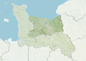 Departement of Calvados, France, Relief Map