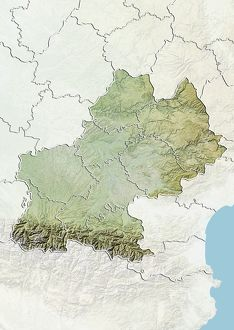 Region of Midi-Pyrenees, France, Relief Map