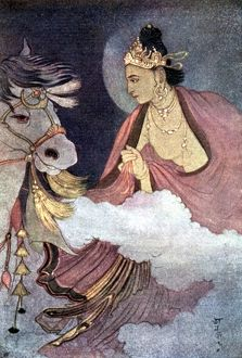 Departure of Prince Siddhartha, illustration