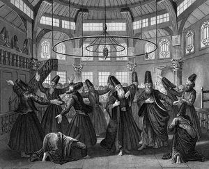 Dervishes, members of Muslim religious order founded in the 12th century, dancing