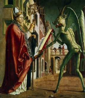 The Devil presenting St Augustine (of Hippo) with the book of vices. Michael Pacher