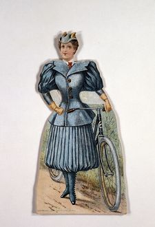 history/display card showing ladies cycling costume accordion pleated