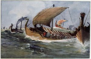 history/drakkar viking longships sail watercolour albert