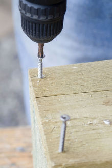 Drilling screws into wood with electric screwdriver, close-up