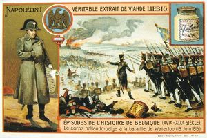 Dutch and Belgian forces in action at the Battle of Waterloo, 8 June 1815. Liebig trade card c1900