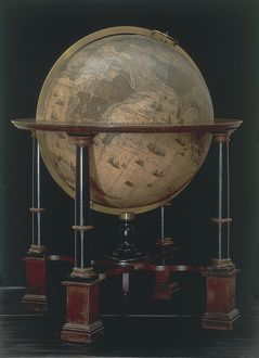 Earth globe made by Willem Blaeu, created in Amsterdam, 1645-1648
